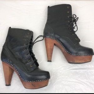N.Y.L.A. Shonda Black Leather Boots Wood Platform